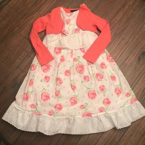 Girls George size 7 floral dress with coral jacket